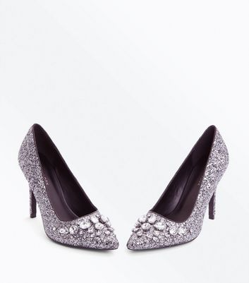 Grey Glitter Gem Embellished Pointed Courts New Look