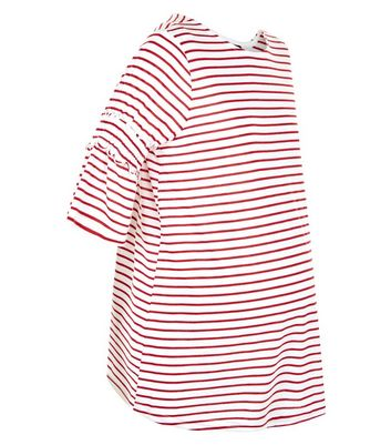 Maternity Red Stripe Shirred Sleeve T-Shirt New Look