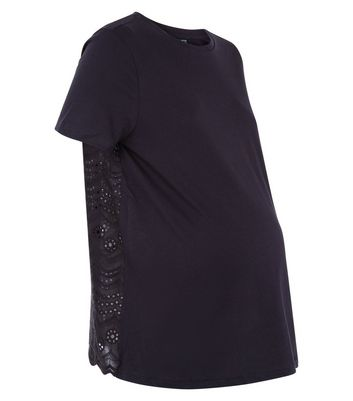 Maternity Black Broderie Back T-Shirt New Look