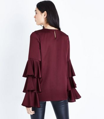 Tall Burgundy Satin Tiered Sleeve Blouse New Look