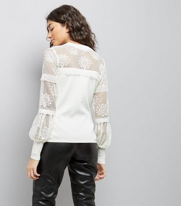 White Lace Insert Balloon Sleeve Jumper New Look