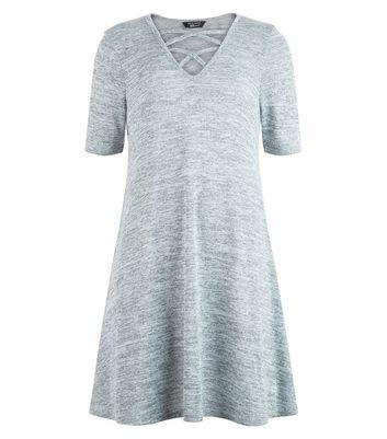 Teens Fine Knit Lattice Front Swing Dress New Look