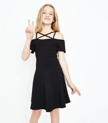 Teens Black Strappy Skater Dress New Look