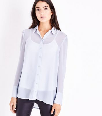 Tall Grey Chiffon Longline Shirt New Look