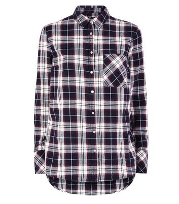 Tall Blue Check Longline Shirt New Look