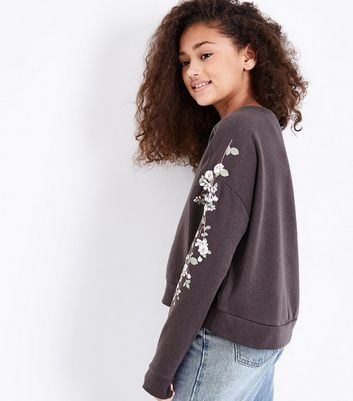 Teens Charcoal Grey Floral Puff Print Sweater New Look