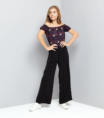 teen-red-check-embroidered-bardot-neck-top