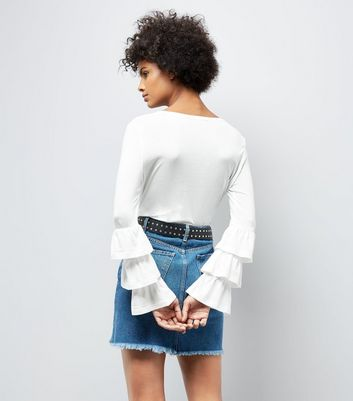 White Frill Layered Sleeve Top New Look