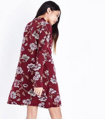 Petite Red Floral High Neck Swing Dress New Look