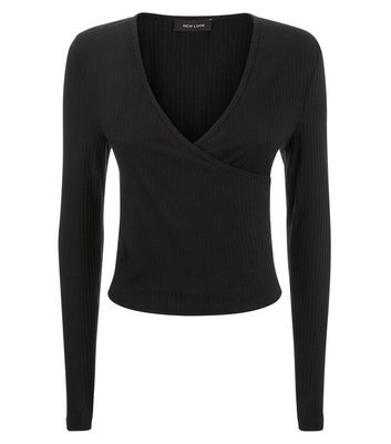 Black Ribbed Wrap Front Top New Look