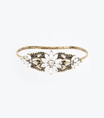 Gold Gem Embellished Handbar New Look