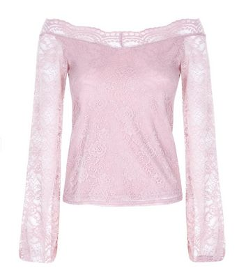 Deep Pink Lace Sweetheart Neck Top New Look