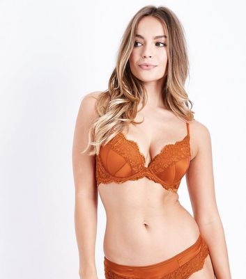 Orange Lace Trim Satin Bra New Look