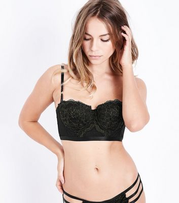Black Metallic Lace Longline Bra New Look