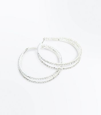 Gold Double Diamante Hoop Earrings New Look