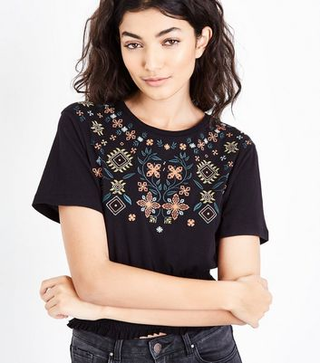 Black Shirred Waist Cross Stitch Embellished Top New Look