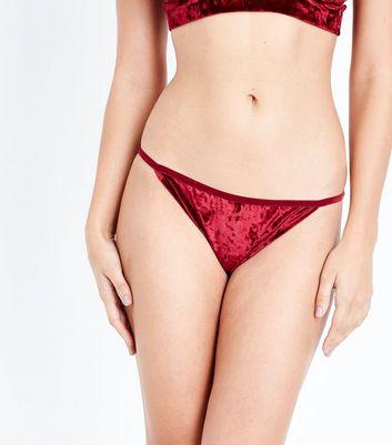 Red Velvet Strap Side Briefs New Look
