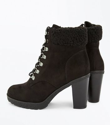 Wide Fit Black Suedette Borg Cuff Lace Up Boots New Look