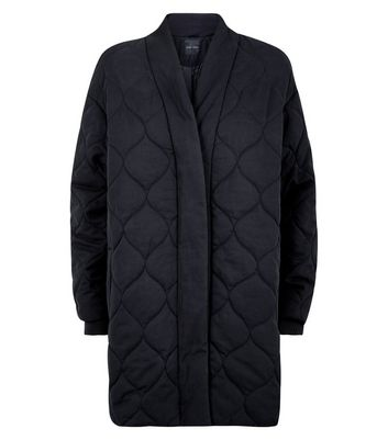 Black Quilted Cocoon Jacket New Look