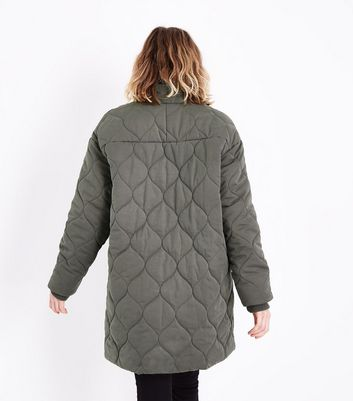 Olive Quilted Cocoon Jacket New Look