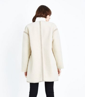 Cream Borg Collarless Coat New Look
