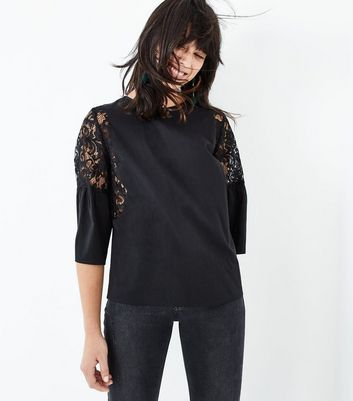 Black Lace Trim Gathered Sleeve Top New Look