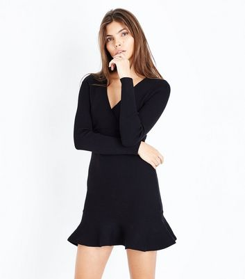Pink Vanilla Black Frill Hem Knitted Dress New Look