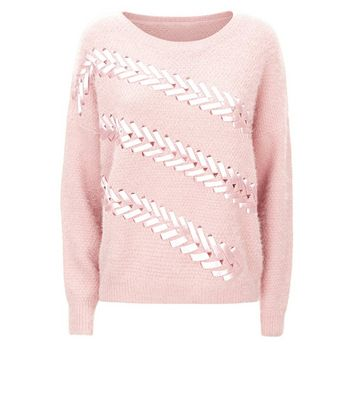 Blue Vanilla Pink Ribbon Stitch Front Jumper New Look