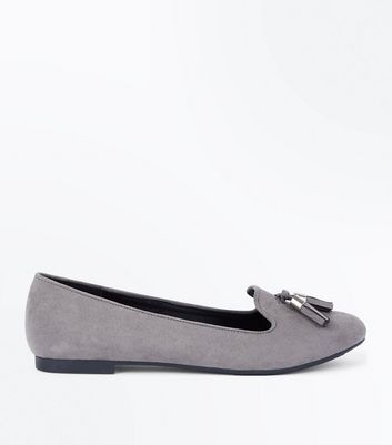 Grey Suedette Tassel Front Loafers New Look