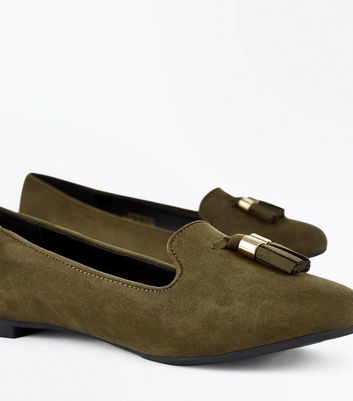 Khaki Suedette Tassel Front Loafers New Look