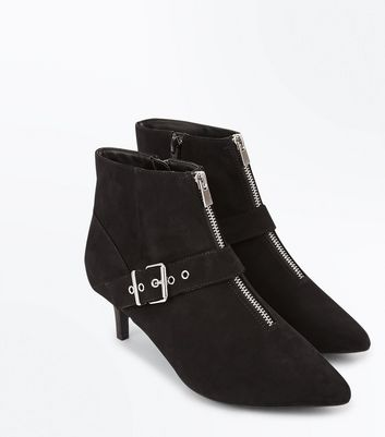 Wide Fit Black Comfort Flex Suedette Buckle Side Ankle Boots New Look