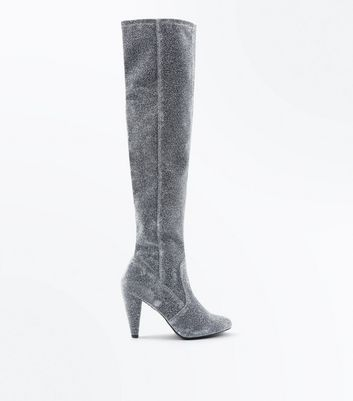 Wide Fit Silver Glitter Cone Heel Over The Knee Boots New Look