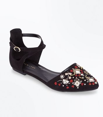 Black Suedette Cross Stitch Embroidered Pointed Pumps New Look