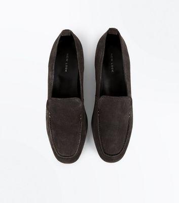 Dark Grey Suede Loafers New Look