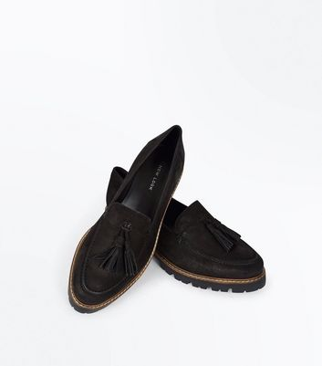 Black Leather Chunky Tassel Front Loafers New Look