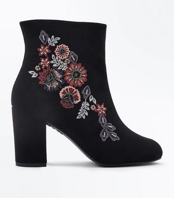Wide Fit Black Suedette Floral Embroidered Ankle Boots New Look