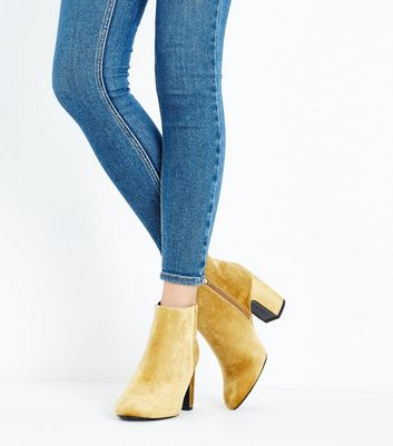 Wide Fit Yellow Velvet Heeled Boots New Look