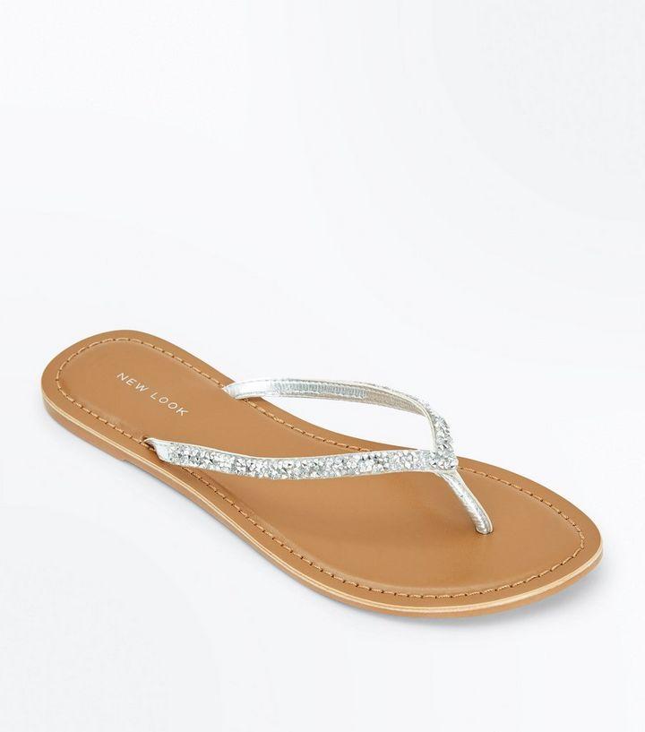8d34e6aa4b54 Silver Crystal Embellished Flip Flops