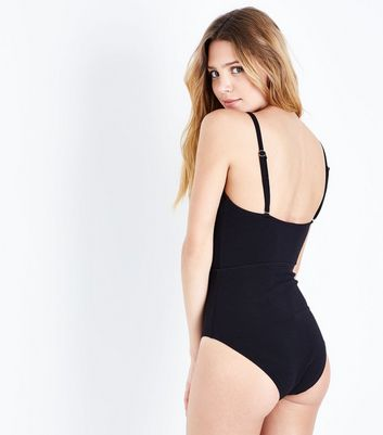 Black Lattice Front Plunge Swimsuit New Look