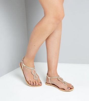 Nude Leather Embellished Cross Strap Sandals New Look