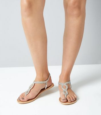 Silver Leather Bead Embellished Sandals New Look