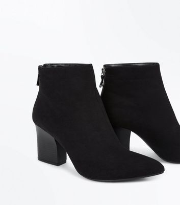 Black Suedette Cuban Heel Boots New Look