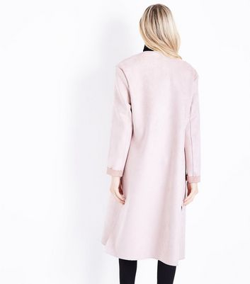 Pink Sudette Duster Jacket New Look
