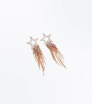 Rose Gold Diamante Star Shoulder Duster Earrings New Look