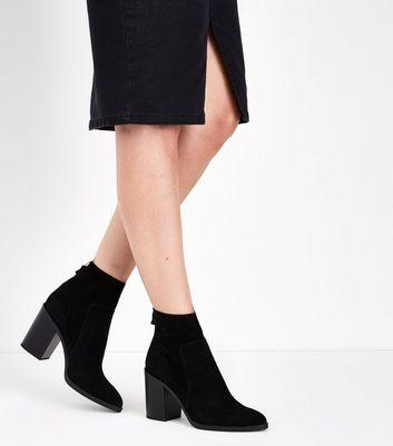 Black Suedette Zip Back Block Heel Boots New Look
