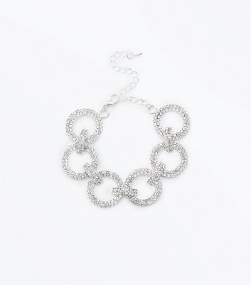 Silver Diamante Linked Circle Bracelet New Look
