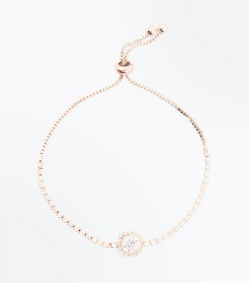 Rose Gold Cubic Zirconia Toggle Bracelet New Look
