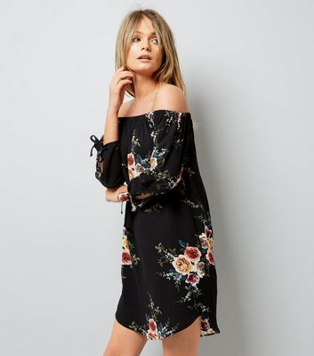 Cameo Rose Black Floral Print Bardot Neck Dress New Look