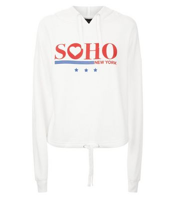 White Soho Print Drawstring Hem Hoodie New Look