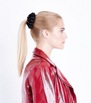 Black Diamante Trim Scrunchie New Look
